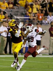 Arizona State wide receiver John Humphrey hauls in a touchdown catch against New Mexico State at Sun Devil Stadium on Thursday, August 31, 2017 in Tempe, Ariz.