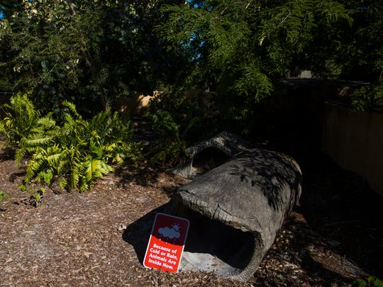 Signs indicate that animals are not in their cages due to the cold weather on Thursday, Jan. 4, 2018, at the Naples Zoo.