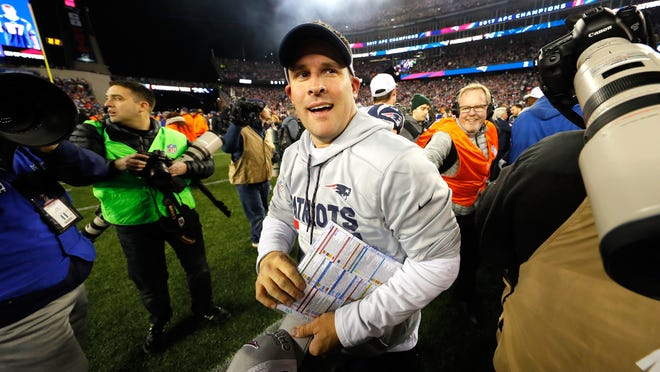 FOXBOROUGH, MA - JANUARY 21:  Offensive Coordinator Josh McDaniels of the New England Patriots celebrates after winning the AFC Championship Game against the Jacksonville Jaguars at Gillette Stadium on January 21, 2018 in Foxborough, Massachusetts.  (Photo by Kevin C. Cox/Getty Images)