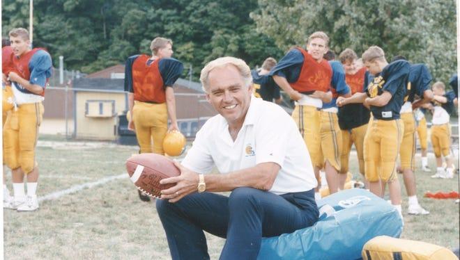 Jim Belden as the head football coach at Carmel High School in 1991.