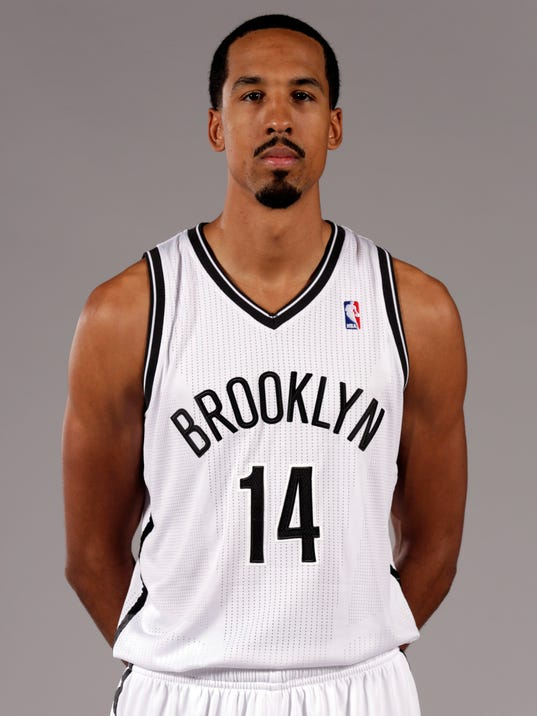 File-This Sept. 30, 2013, file photo shows Shaun Livingston posing for photos during the Brooklyn Nets media day, at the Barclay's Center, in New York. (AP Photo/Richard Drew, File)
