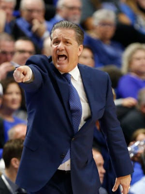 Head coach John Calipari of the Kentucky Wildcats reacts against the Virginia Tech Hokies during the first half at the Rupp Arena in Lexington, on Saturday, Dec. 16, 2017.