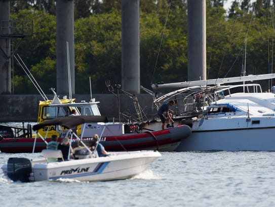 A 35-foot catamaran caught fire in the Indian River