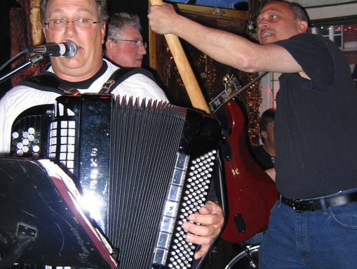 Bob Klemen plays the accordion with his band, Polkamotion, at the Chatterbox's Dyngus Day celebration.
