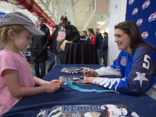 Fans of all ages came to meet Megan Keller and admire the gold medal she won as a defender for the USA women's hockey team.