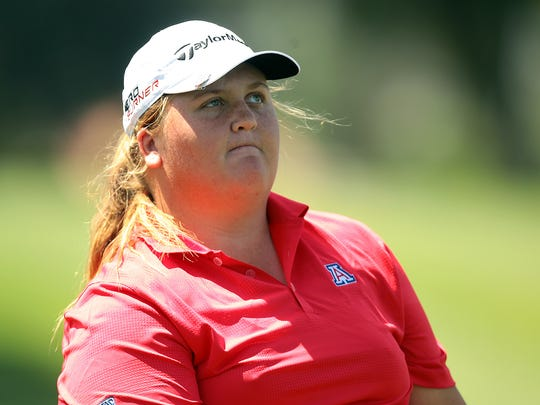 Amateur golfer Haley Moore of Escondido plays the ninth hole to finish her round at a one over par 73 on Thursday during the first round of the ANA Inspiration in Rancho Mirage.
