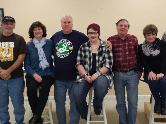 BUM Players troupe members, from left:  Chuck Edwards, Steve Richardson, Marita Keys, Turk Thomas, Quincy Maxfield, David Hansen, Marcy Miceli and Mack McCarthy.  The troupe will perform the original comedy Tavern on April 21, 22, 28 and 29.