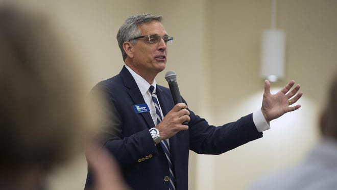 Candidate for Georgia Secretary of State Brad Raffensperger speaks at a meeting of the Columbia County Republican Women held at the Snelling Conference Center in Augusta, GA on Thursday, July 12, 2018.