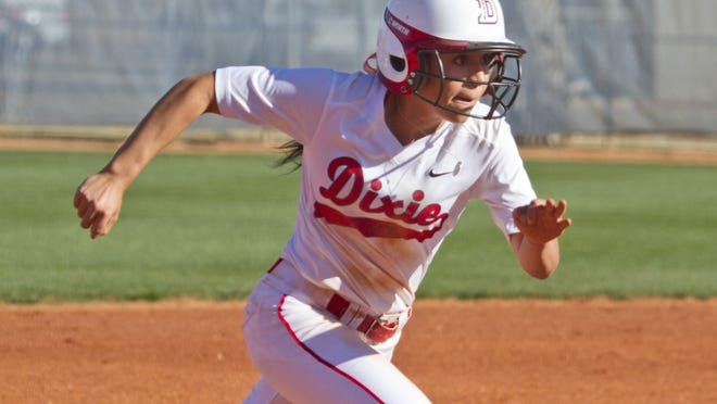 Dixie State outfielder Janessa Bassett runs home to score against Montana State Billings on Feb. 17 in St. George.