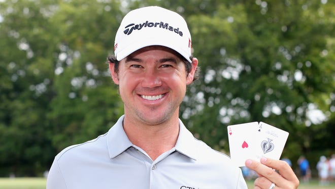 Brian Harman of the United States poses after his round was complete after making hole-one's on both the third and 14th holes during the final round of The Barclays at Plainfield Country Club on August 30, 2015 in Edison, New Jersey.
