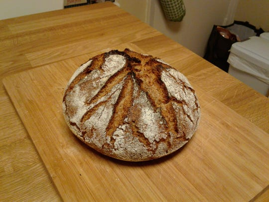 A loaf of German Rye cools after being baked by Stephen