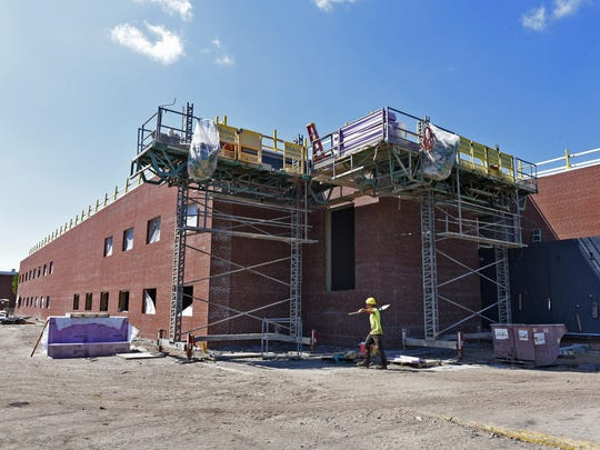 Construction continues Wednesday on the new addition and remodeling of North Junior High School.