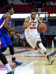Forward Shawn Long of Louisiana-Lafayette, shown in action against Louisiana Tech earlier this month, is a widely regarded star who will be playing at Northwestern State Saturday afternoon.