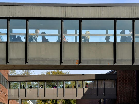 Students crowd the two skyways between buildings during