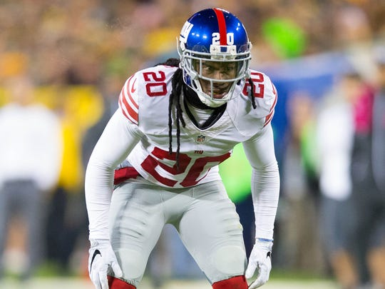 New York Giants cornerback Janoris Jenkins (20) during the game against the Green Bay Packers at Lambeau Field.