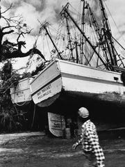 Shrip boats line the strets of McClellanville, SC, after Hurricane Hugo struck the small fishing village in 1989.