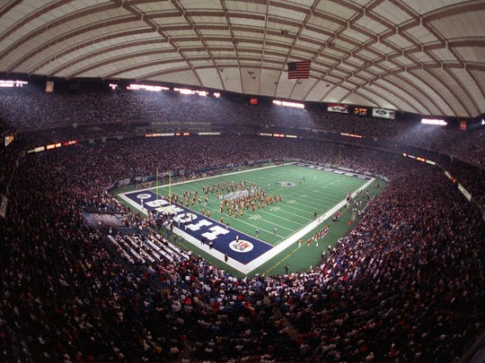 The Silverdome crowd minutes before the Lions' playoff