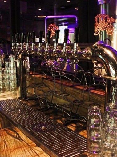 A look at the vibrant, yet vintage-inspired bar inside of the Idyllwild Brewpub.