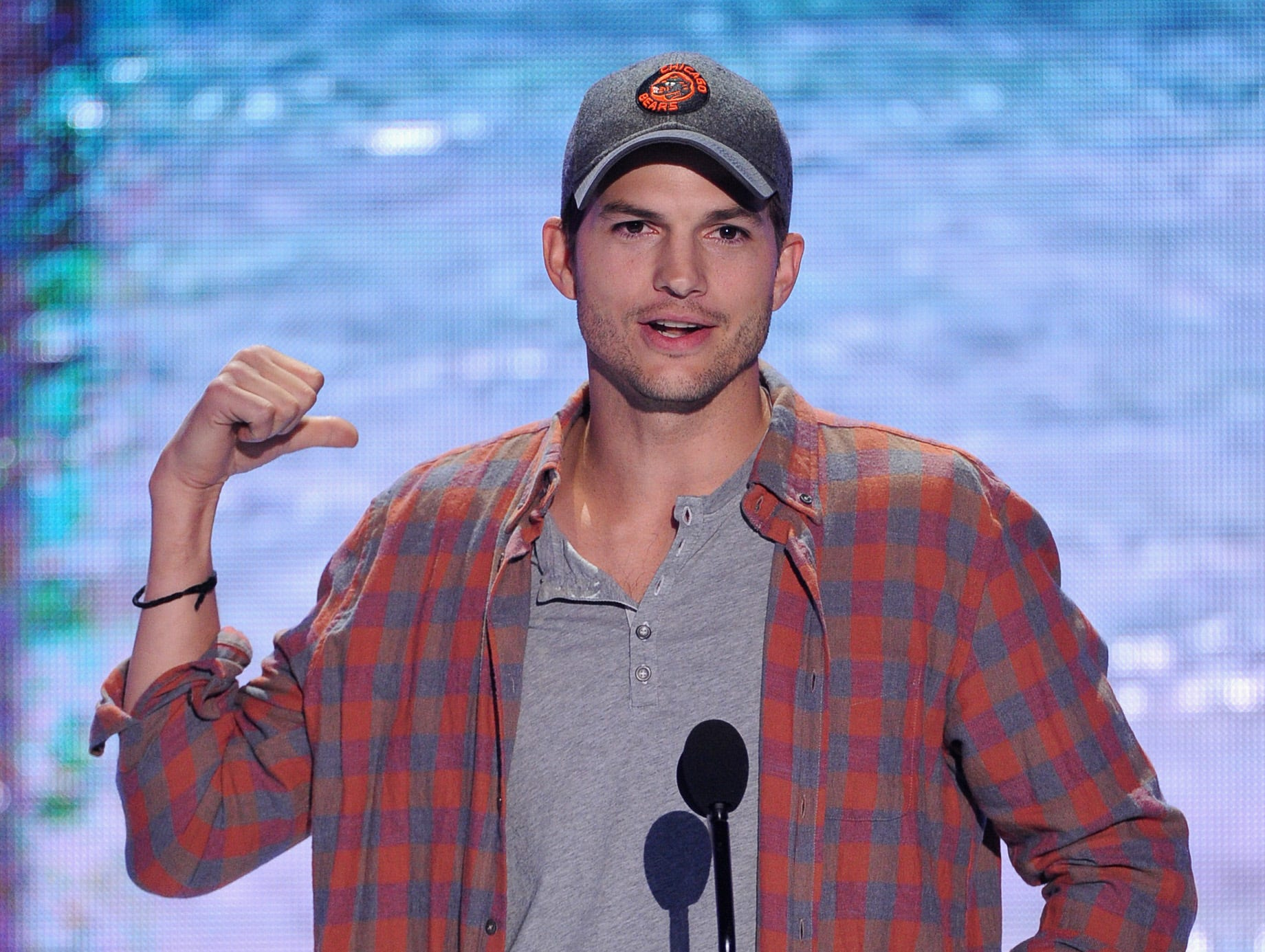 Actor Ashton Kutcher lays on the charm.