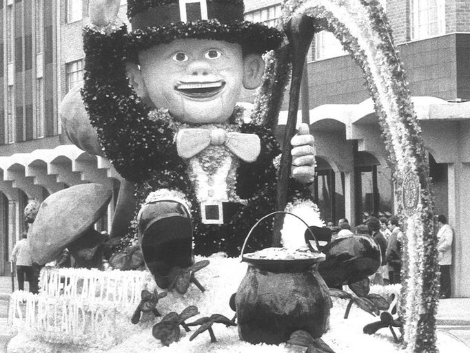 A Leprechaun atop the American Legion float during the 1982 St. Patricks Day parade in 1982.