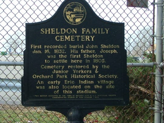 Plaque at the Sheldon Family Cemetery, in Ralph Wilson