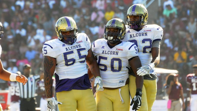 Redshirt sophomore Sterling Shippy (55) is playing for the first time during his Alcorn State career and making a big impact for the Braves.