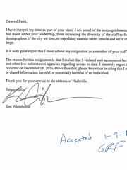 Nashville DA spokesman Ken Whitehouse's resignation letter. Released by the prosecutor's office January 9, 2017.