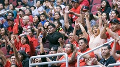 Page High fans cheer during their girls Division III