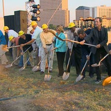 Dirt was flying in Las Colinas as dignitaries broke ground for the Irving Music Factory complex on August 30, 2014. The facility is expected to open in 2016.