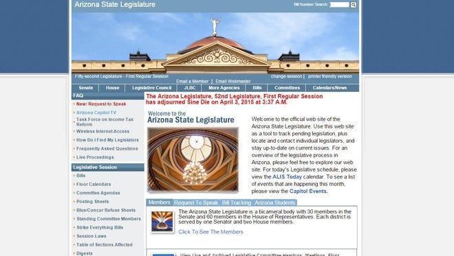 A screenshot of the Arizona Legislature's online home.