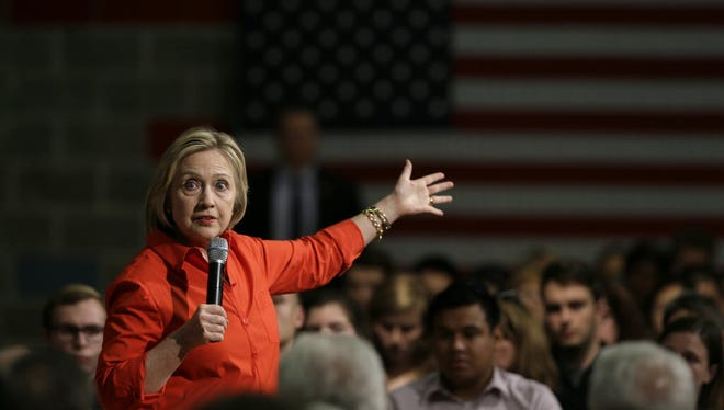 Democratic presidential candidate Hillary Clinton campaigns in Grinnell, Iowa, on Nov. 3, 2015.