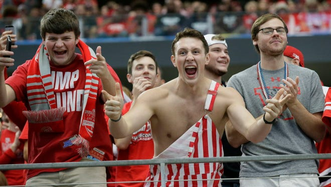 Wisconsin fans cheer during the Cotton Bowl Jan. 2, 2017, in Arlington, Texas. Fans can still make it to Miami to see the Badgers in the Orange Bowl this weekend.