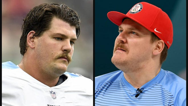 Titans offensive lineman Taylor Lewan, left, and Mike Hamilton of the gold medal-winning U.S. curling team.