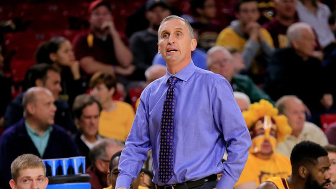 Dec 5, 2015: Arizona State Sun Devils head coach Bobby Hurley reacts to a play during the first half against Texas A&M Aggies at Wells-Fargo Arena.