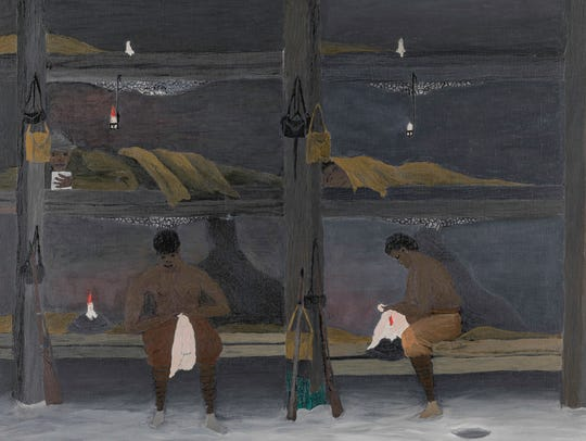 """Horace Pippin (1888-1946). """"The Barracks,"""" 1945. Oil"""