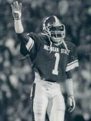 Andre Rison celebrates a play at Spartan Stadium.