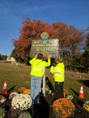 A Blue Star Highway marker has been installed near the corner of Route 37 and Hospital Drive.