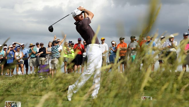 Jimmy Walker plays his shot from the eighth tee during a practice round of the U.S. Open golf tournament at Erin Hills in Erin, Wis.