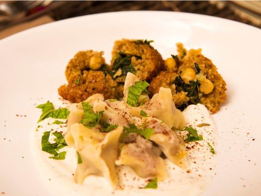 Lamb dumplings and spiced butternut squash kibbeh hash by Top Home Chef finalist Jordan Urnovitz, Tuesday, September 27, 2016.