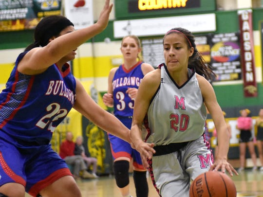 Genesis Tellez (20) and the Mayfield Trojans are at Eldorado in the first round of the Class 6A state tournament Friday night.