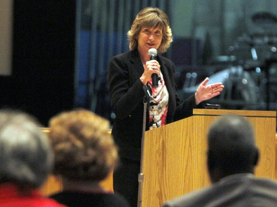 Karen Magnuson, editor and vice president of news at the Democrat and Chronicle, speaks at the Facing Race, Embracing Equity Community Summit on Race held May 30, 2013.