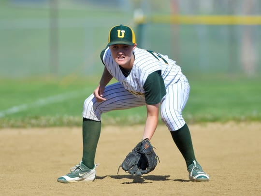 CMR third baseman Peyton Peterson drops into her fielding position in a game last season. The Rustlers swept a doubleheader against Bozeman Saturday.