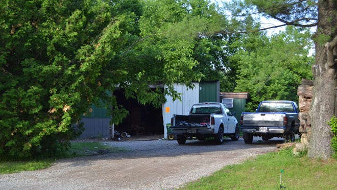 Authorities searched this property in the town of Stiles on June 25, finding evidence of methamphetamine production. Two people were arrested.