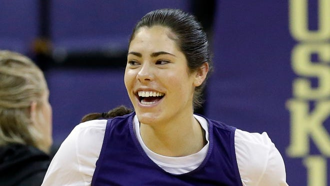 Washington's Kelsey Plum smiles at practice the day before the NCAA Tournament began. The Huskies reached the Sweet 16.