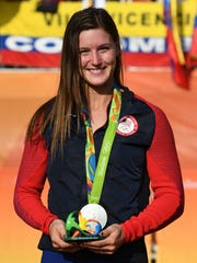 Alise Post is shown with her silver medal after the Women's BMX Final on day 14 of the Rio 2016 Olympic Games at the Olympic BMX Centre on Aug. 19, 2016, in Rio de Janeiro, Brazil.