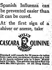Hill's Bromide Cascara Quinine advertisement as a Spanish Influenza treatment.