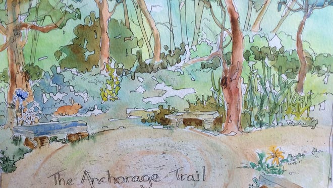 "Artist Connie Kuhn's painting ""Anchorage Trail"" is part of the Kentucky Watercolor Society's exhibit ""Brush with Nature."""