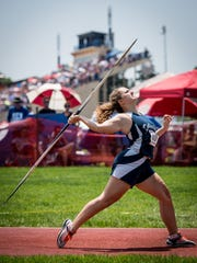 Dallastown's Lillian Cook throws in the AAA girls javelin during the PIAA Track and Field Championship meet at Shippensburg University on Saturday, May 28, 2016.