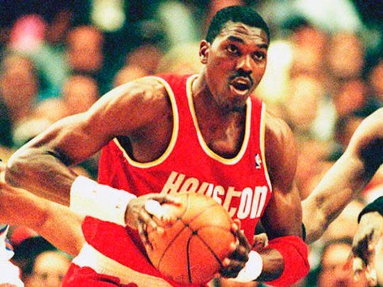 Houston's Hakeem Olajuwon put up a triple-double against the Sonics in 1987 on points, rebounds and BLOCKS.