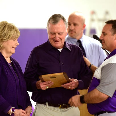 Al Voggenthaler, center, was honored Wednesday as the